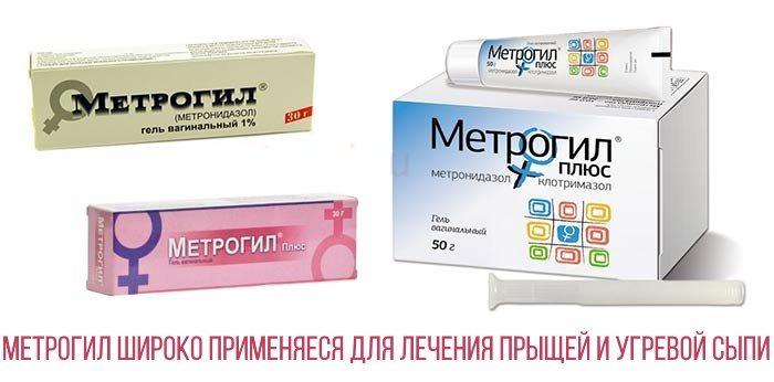 Метрогил гель широко применяется для лечения угревой сыпи