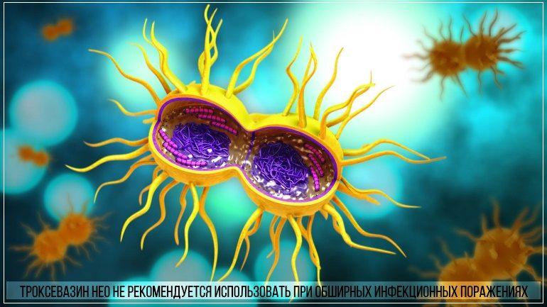 Троксевазин нео запрещено использовать при обширных инфекционных поржениях