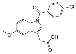 Химическая и структурная формула Индометацина