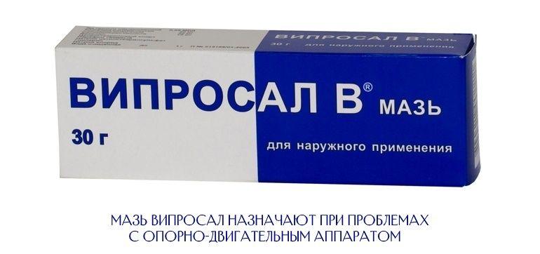 Мазь Випросал назначают для симптоматичного лечения воспалений и болей