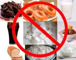 В период терапии следует ограничить еду, богатую углеводами