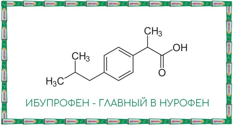 Ибупрофен - главное действующее вещество в Нурофен